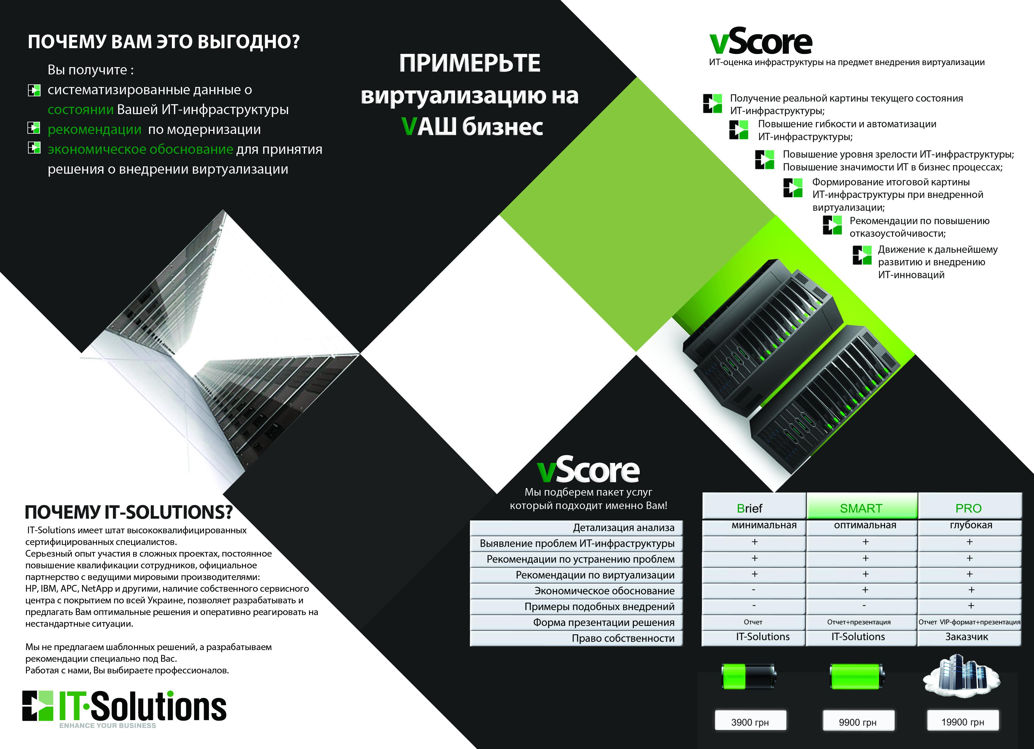 vScore от IT-Solutions оценка ИТ-инфраструктуры на предмет внедрения виртуализации