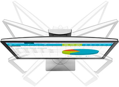 Экран можно регулировать по высоте  (до 150 мм), углу наклона и повороту экрана